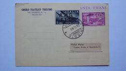 ITALIA TRIESTE AMG-FTT AMG FTT LETTERA CON 4 LIRE RISORGIMENTO E UNA LIRA POSTA AEREA - Storia Postale