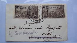 ITALIA TRIESTE AMG-FTT AMG FTT LETTERINA CON 2 ESEMPLARI DEL 3 LIRE CENTENARIO RISORGIMENTO - Storia Postale