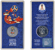 Russia, World Cup 2018, Mascot ZABIVAKA (wolf), 25 Rbl Rubels Colored UNC Special Pack - Russie
