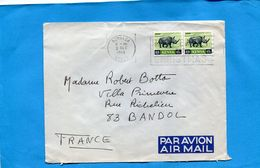 Marcophilie-lettre-kenya  >France Cad Mombasa 1968 - 2-stamps- N°27 Rhinocéros - Kenya (1963-...)