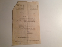 Limoges, Invitation, Au Théatre Chaumont, 1904 , Le Drame Du Calvaire - Programmi