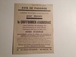 AUGINAC, 24, Avis De Passage, Le Chiffonnier, D'AUGINAC ,octobre 1948 - Non Classificati