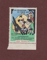 Vignette De 1950 -  Vignette  LA JEUNESSE AU PLEIN AIR - - Commemorative Labels