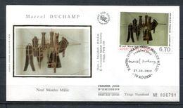 1998 FRANCE FDC 1ER JOUR SUR SOIE PEINTURE MODERNE DU PEINTRE MARCEL DUCHAMP - Modern