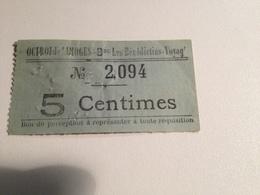 LIMOGES, Ticket , Octroi , Les Bénédictins, Avant 1900, 5 Centimes - Tram