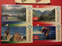 Tamura FONKARD Set Of 4 Cards With Insert Collect All 4 Designs USED PLDT Encart Avec Les 4 Cartes Utilisées - Philippines