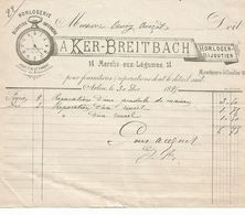 ARLON- Facture De L'Horlogerie-Bijouterie     KER-BREITBACH  De 1895. - Belgium