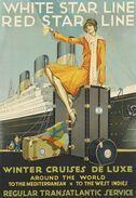Navigation White Star Line Red Star Line Winter Cruises De Luxe - Postcard Reproduction - Publicité