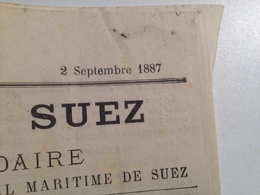 LE CANAL De SUEZ, Bulletin Décadaire,1887, N° 565 - Shareholdings