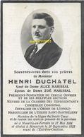 Duchatel Henri - - Membre De La Chambre Des Représentants - échevin Mouscron 1884/1933 - Avvisi Di Necrologio