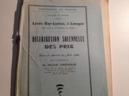Limoges ,Lycée Gay Lussac, 1964, Distribution Solennelle Des Prix - Diplômes & Bulletins Scolaires