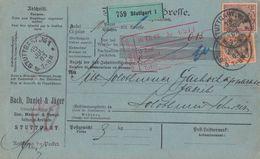 DR Paketkarte Mif Minr.74, 76 Stuttgart 15.7.03 Gel. In Schweiz - Briefe U. Dokumente