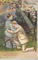 CPA FANTAISIE. Demande En Mariage, Couple De Jeunes Gens Amoureux, Gaufrée. .B299 - Coppie