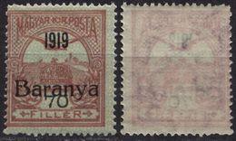 1919 Serbian SERBIA SHS Yugoslavia Occupation Hungary Baranya Local Issue - TURUL 70f Overprint / MNH - Baranya