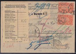 DR Paketkarte Mif Minr.205,207,219,220,4x 223 Barmen 4.1.23 Gel. In Schweiz - Germany