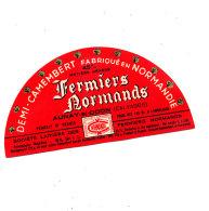 P 934- ETIQUETTE DE FROMAGE -DEMI- CAMEMBERT  FERMIERS NORMANDS AUNAY S/ ODON ((CALVADOS) - Cheese