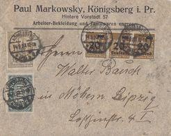 DR Brief Mif Minr.256,262,3x 281 Königsberg 14.9.23 - Deutschland