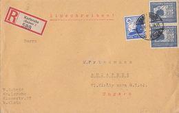 DR R-Brief Mif Minr.531, 2x 669 Karlsruhe 8.9.38 Gel. Nach Ungarn - Briefe U. Dokumente