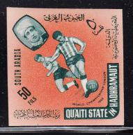 South Arabia Qu'aiti State 1966 MNH SG #77 50f Soccer Players Imperf - Timbres