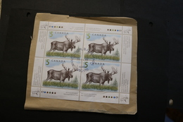 Canada 1693 Moose Minor Creasing LR Sheet Of Four Cancelled On Piece 1997 WYSIWYG  A04s - Full Sheets & Multiples