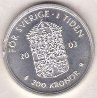 Sweden .  200 Kronor 2003 . Carl XVI Gustaf . 30th Anniversary Of Reign . Argent . KM# 902 - Suède