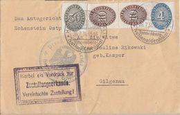 DR Zustellurkunde Mif Minr.D120,D130,2x D131 Hohenstein 26.7.34 Gel. Nach Gilgenau - Dienstpost