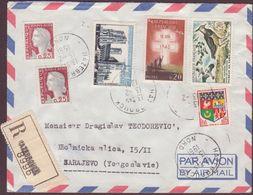 ENVELOPPE TIMBRE RECOMMANDEE PAR AVION 1961 HAZEBROUK A SARAJEVO - Marcofilie (Brieven)