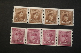 Canada 264 266 KGVI Strips Of Four Hinge Remnants 1942-43 WYSIWYG  A04s - Coil Stamps
