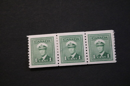 Canada 263 KGVI Strip Of Three VF Hinge Remnants 1943 WYSIWYG  A04s - Coil Stamps