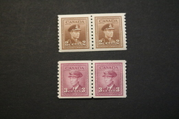 Canada 264 266 KGVI Pairs Small Mark On Back Of 2c Value VF MNH 1942-43 WYSIWYG  A04s - Coil Stamps