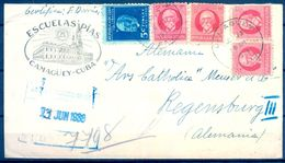 1938 , CUBA , CERTIFICADO CIRCULADO ENTRE CAMAGÜEY Y REGENSBURG , LLEGADA , CENSURA ALEMANAC - Cuba