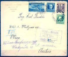 1934 , CUBA , SOBRE CERTIFICADO ENTRE CÁRDENAS ( MATANZAS ) Y VIENA , LLEGADA AL DORSO , BONITO FRANQUEO - Cuba