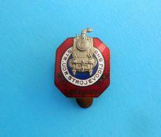 YUGOSLAVIA KINGDOM ASSOC. OF LOCOMOTIVE ENGINEERS Slovenia Ljubljana Pre-WW2 Enamel Buttonhole Pin Badge * Train Railway - Transportation