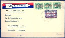 1933 , CUBA , SOBRE CIRCULADO ENTRE LA HABANA Y HAMBURGO , VIA NUEVA YORK , INTERESANTE FRANQUEO - Cuba