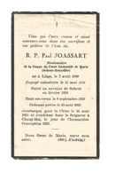 P 462. R.P. PAUL JOASSART - Missionaire Congr. Du Coeur Immaculé De Marie (SCHEUT-BRUXELLES)-°LIEGE 1899/+CHANG-HAÏ 1930 - Santini