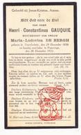 DP Henri C. Gauquie ° Noordschote Lo-Reninge 1856 † Poperinge 1932 X Maria L. De Bergh - Images Religieuses