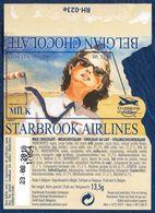 BELGIUM CHOCOLATE - CHOCOLAT - CHOCOLADE WRAP LABEL STARBROOK AIRLINES STEWARDESS - Labels