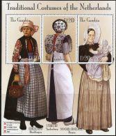 Gambia 2002, Dutch Traditional Costumes Block Issue MNH Amphilex Exhibion Klederdracht Friesland Utrecht Noord-Holland - Costumes