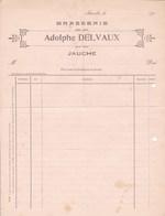 BRASSERIE JAUCHE Facture Vierge De La BRASSERIE Adolphe DELVAUX 1ère Décennie Du 20e Siècle - Alimentare