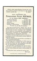 P 465. E.Pater RUFINUS '(Remi Fransen) - °GIJSEGEM 1890 / +SINT-NIKLAAS 1939 - Images Religieuses