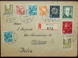 O) 1947 SWITZERLAND, RHONE GLACIER-CHILLON CASTLE-STAUBBACH FALLS-EMANUEL VON FELLENBERG SP122-SILVER THISTLE, TO  ITALY - France