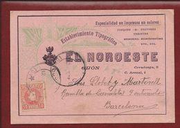 Edifil N.º 243. Tarjeta Comercial De El Noroeste De Gijón - 1889-1931 Kingdom: Alphonse XIII
