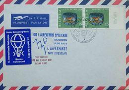 L) 1974 SWITZERLAND, ARCHEOLOGY-THEMED, PRO PATRIA, HELVETIA, LOCARNO MUSEUM, AIR MAIL, BALLOON FLIGHT - Switzerland
