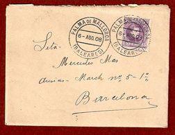 Edifil N.º 246. Carta Circulada De Palma De Mallorca A Barcelona - 1889-1931 Kingdom: Alphonse XIII
