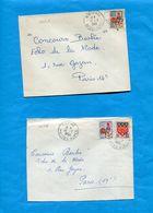 Marcophilie-FRANCE-2 Lettres  Petites Communes Des Alpes--Cachet   Perlé  MONTAGNAC 1965+L EPINE - Marcophilie (Lettres)