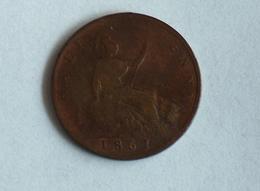 UK 1/2 PENNY 1861 HALF GRANDE BRETAGNE - 1816-1901 : Frappes XIX° S.