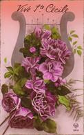 AK Vive Ste. Cecile - Violette Blumen - Harfe (32670) - Blumen
