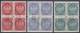 Austria Feldpost Occupation Of Bosnia 1900 Mi#21-23 Blocks Of Four, Nice CTO Cancels - Usados