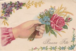 AK Bonne Fête - Rose - Reliefdruck - 1905 (32671) - Blumen