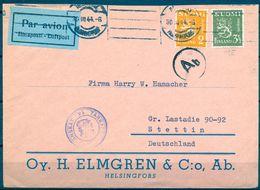 1944 , FINLANDIA , SOBRE CIRCULADO ENTRE HELSINKI Y STETTIN , CENSURADO , CORREO AÉREO - Briefe U. Dokumente